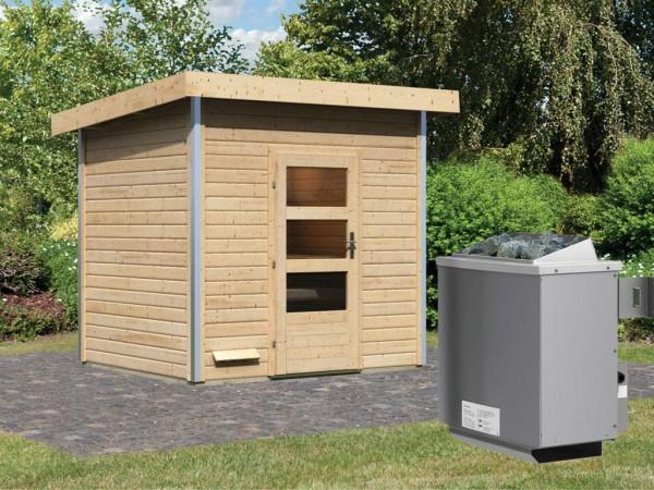 Saunahaus Norge mit Klarglastür, inkl. 9 kW Saunaofen mit integrierter Steuerung