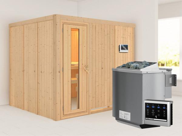 Systemsauna Gobin Holztür mit Isolierglas, inkl. 9 kW Bio-Kombiofen ext. Steuerung
