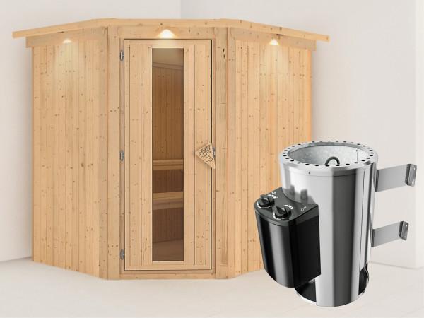 Sauna Systemsauna Lilja mit Dachkranz, Energiespartür + Plug & Play Saunaofen mit Steuerung