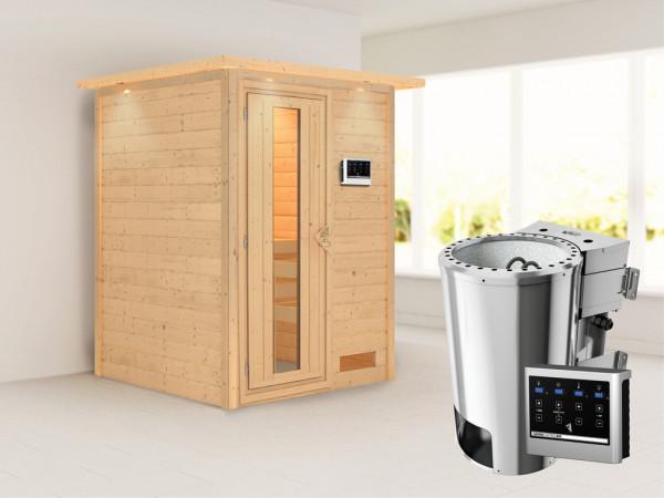 Sauna Massivholzsauna Nadja mit Dachkranz, Energiespartür + Plug & Play Bio-Ofen mit ext.Strg