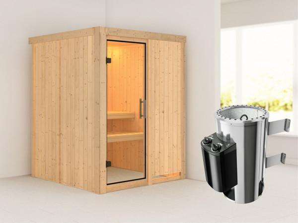 Sauna Systemsauna Minja Klarglas Ganzglastür + Plug & Play Saunaofen mit Steuerung