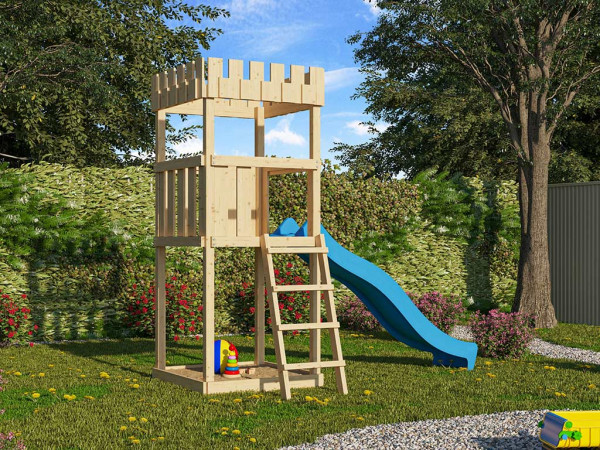 Spielturm SET Ritterburg Löwenherz naturbelassen inkl. Rutsche blau
