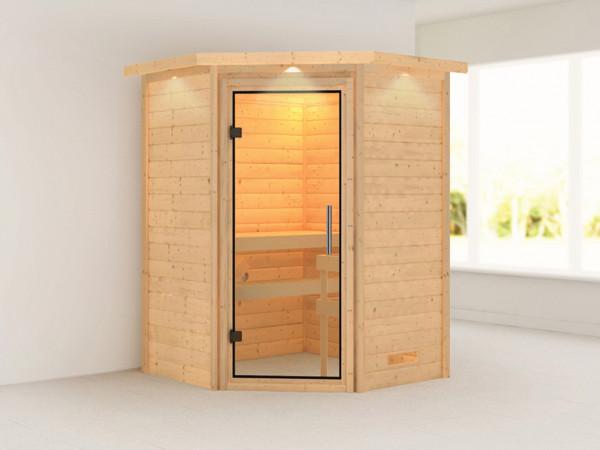 Sauna Massivholzsauna Alicja mit Dachkranz, Klarglas Ganzglastür