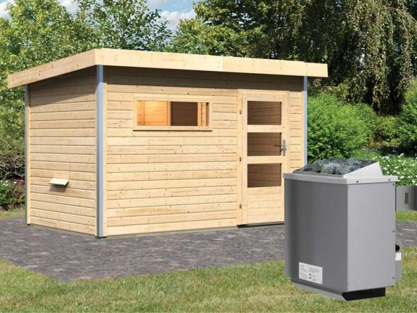 Saunahaus Skrollan 1 mit Klarglastür & Vorraum, inkl. 9 kW Saunaofen mit integrierter Steuerung