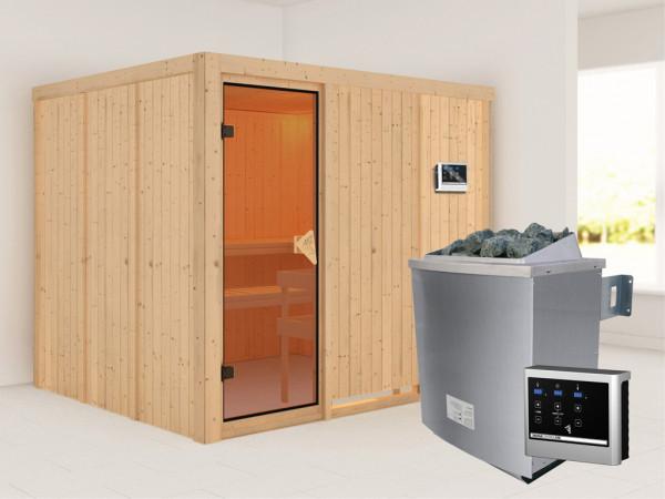 Systemsauna Gobin bronzierte Ganzglastür, inkl. 9 kW Saunaofen ext. Steuerung