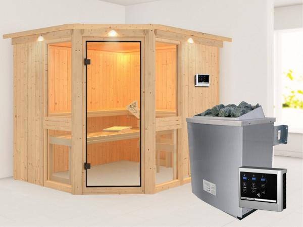 Sauna Systemsauna Amelia 3 mit Dachkranz, inkl. 9 kW Saunaofen ext. Steuerung