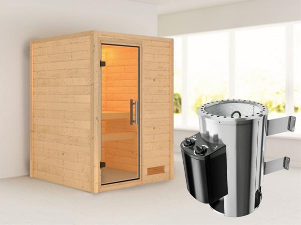 Sauna Massivholzsauna Nadja Klarglas Ganzglastür + Plug & Play Saunaofen mit Steuerung