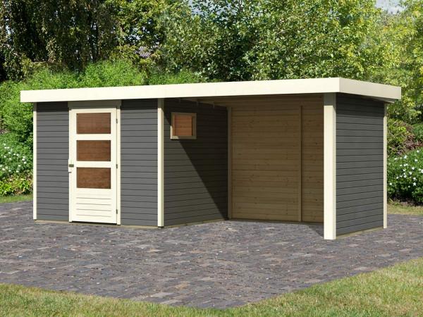 Gartenhaus SET Oburg 3 19 mm terragrau, inkl. 2,8 m Anbaudach + Seiten- & Rückwand