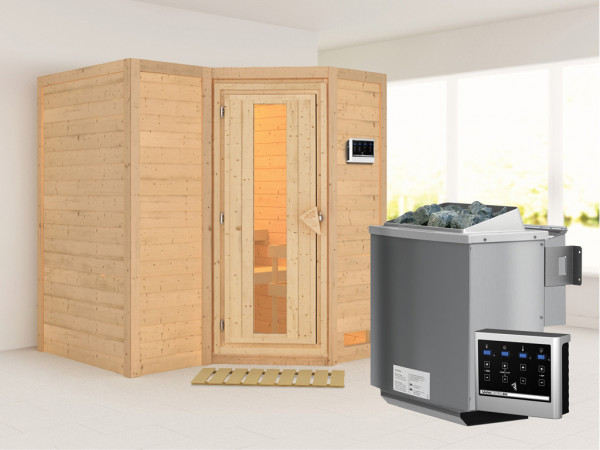 Massivholzsauna Sahib 1 Holztür mit Isolierglas, inkl. 9 kW Bio-Ofen ext. Steuerung