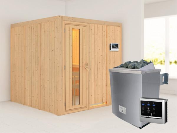 Systemsauna Rodin Holztür mit Isolierglas, inkl. 9 kW Saunaofen ext. Steuerung