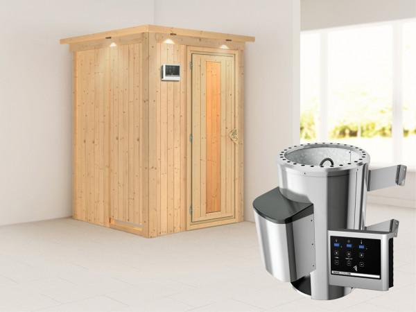 Sauna Systemsauna Lenja mit Dachkranz, Energiespartür + Plug & Play Saunaofen mit ext. Steuerung