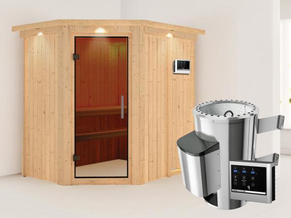Sauna Systemsauna Saja mit Dachkranz, graphit Ganzglastür + Plug & Play Saunaofen mit ext. Strg
