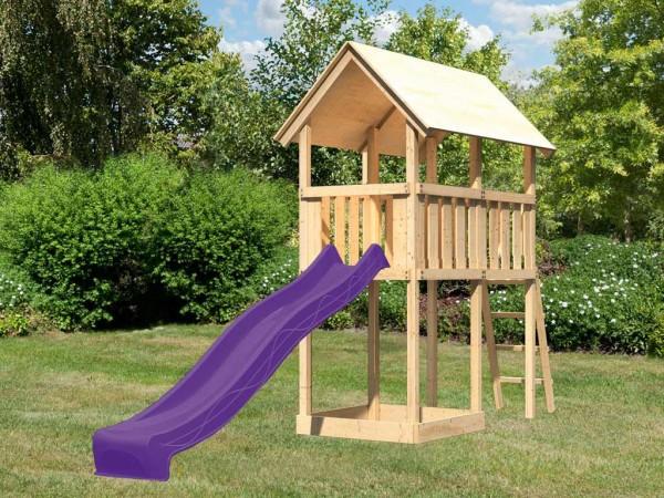 Spielturm Danny naturbelassen inkl. Rutsche violett