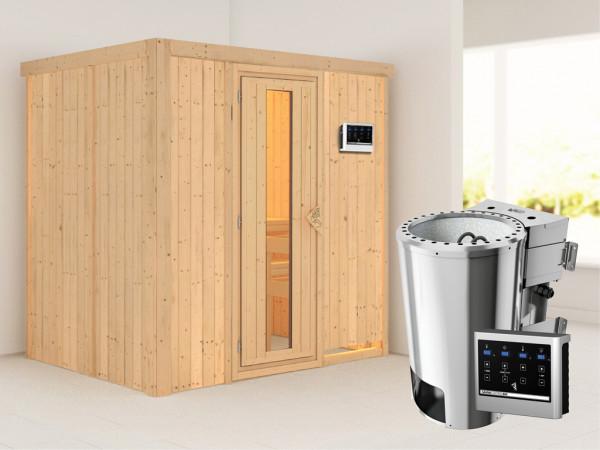 Sauna Systemsauna Fanja Energiespartür + Plug & Play Bio-Ofen mit externer Steuerung