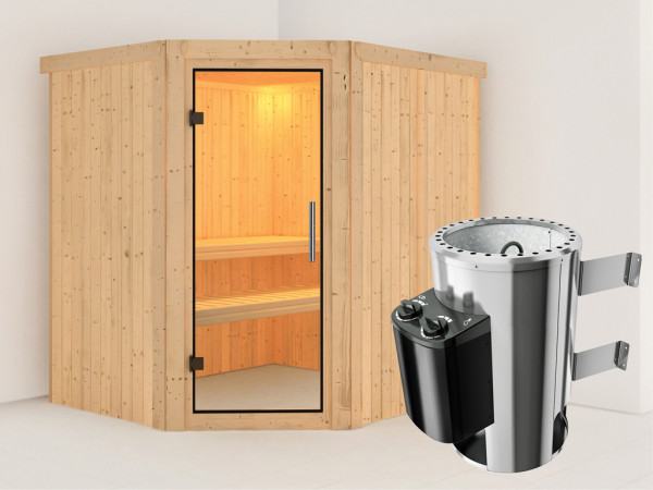 Sauna Systemsauna Lilja Klarglas Ganzglastür + Plug & Play Saunaofen mit Steuerung