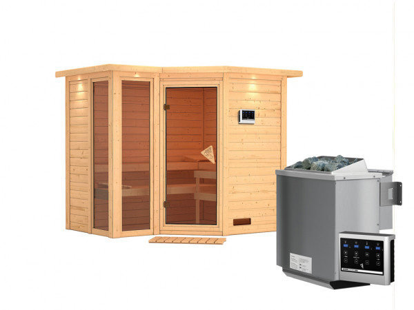 """Sauna Massivholzsauna """"Amara"""" mit Dachkranz inkl. 9 kW Bio-Kombiofen ext. Steuerung"""