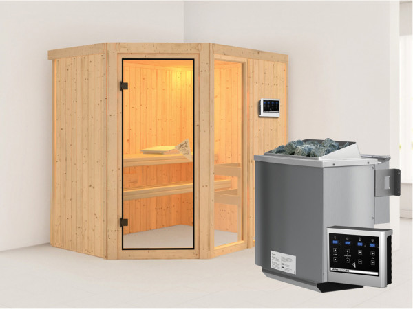 Sauna Systemsauna Fiona 1 inkl. 9 kW Bio-Kombiofen ext. Steuerung