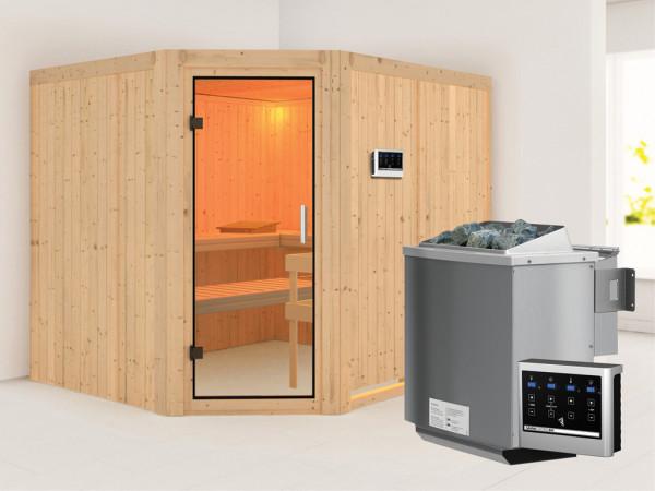 Sauna Systemsauna Malin Klarglas Ganzglastür + 9 kW Bio-Kombiofen mit ext. Strg