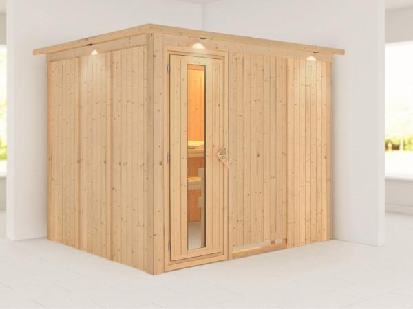 Systemsauna Gobin mit Dachkranz, Holztür mit Isolierglas