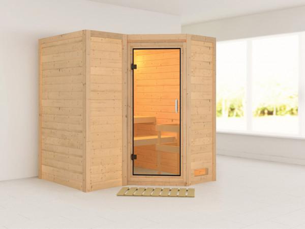 Sauna Massivholzsauna Sahib 1 Klarglas Ganzglastür
