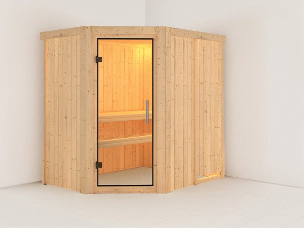 Sauna Systemsauna Carin Klarglas Ganzglastür