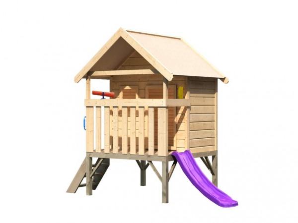 Spielhaus Set Mini naturbelassen, inkl. Rutsche violett