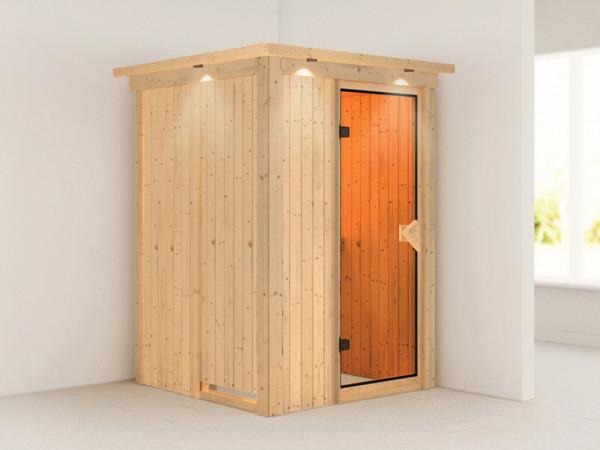 Sauna Systemsauna Lenja mit Dachkranz