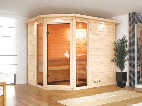 """Sauna Massivholzsauna """"Sinai 3"""" mit Dachkranz"""