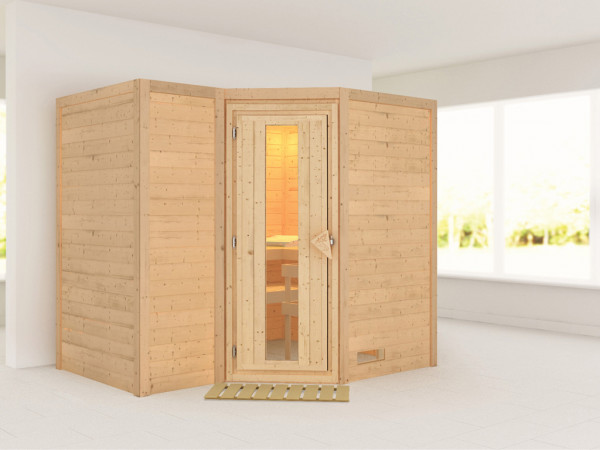 Massivholzsauna Sahib 2 Holztür mit Isolierglas