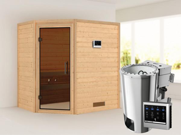 Sauna Massivholzsauna Cilja graphit Ganzglastür + Plug & Play Bio-Ofen mit externer Steuerung