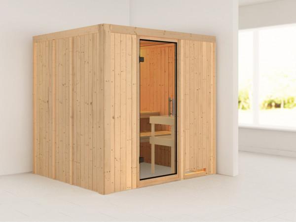 Sauna Systemsauna Sodin Klarglas Ganzglastür
