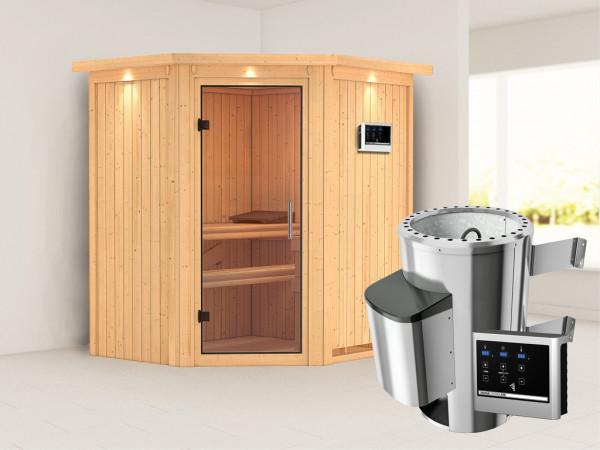 Sauna Systemsauna Tonja mit Dachkranz, Klarglas Ganzglastür + Plug & Play Saunaofen mit ext. Strg