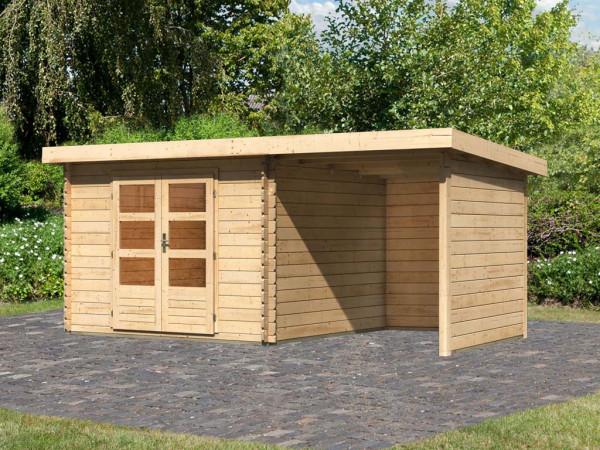 Gartenhaus BBH SET Bastrup 5 28 mm naturbelassen, inkl. 2,0 m Anbaudach + Seiten- und Rückwand