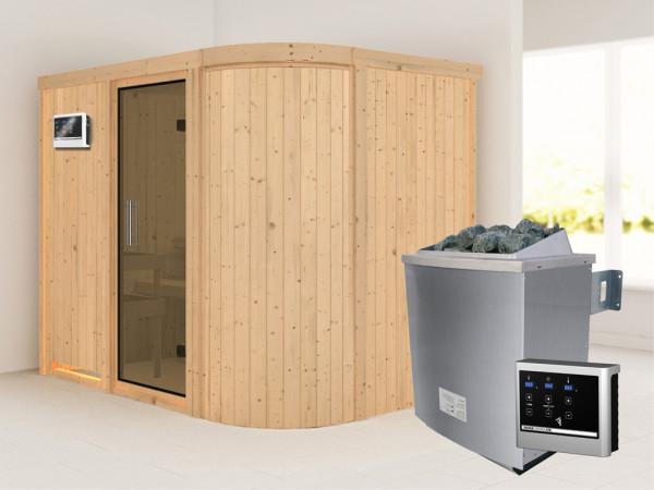 Sauna Systemsauna Titania 4 graphit Ganzglastür + 9 kW Saunaofen mit ext.Strg