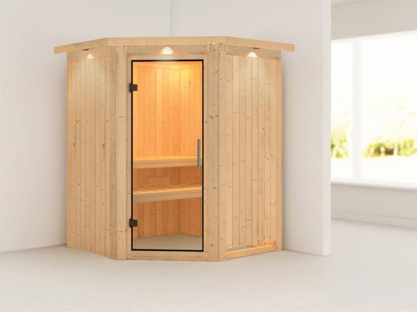 Sauna Systemsauna Larin mit Dachkranz, Klarglas Ganzglastür
