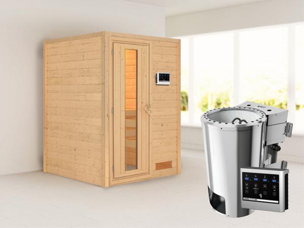 Sauna Massivholzsauna Nadja Energiespartür + Plug & Play Bio-Ofen mit externer Steuerung