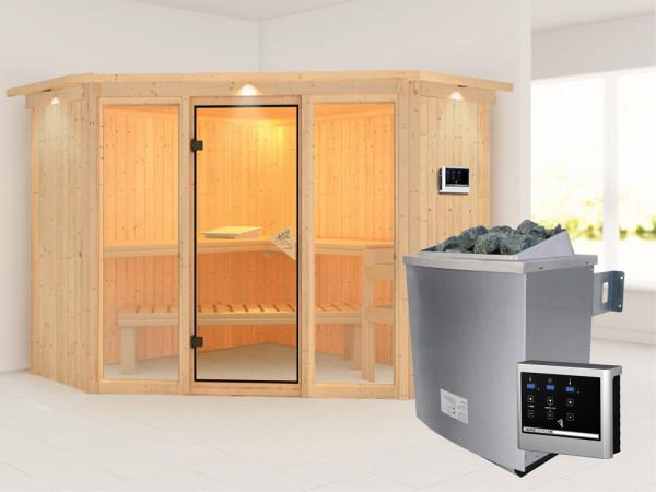 Sauna Systemsauna Flora 2 mit Dachkranz, inkl. 9 kW Saunaofen ext. Steuerung