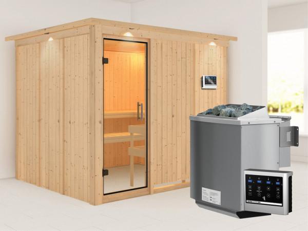 Sauna Systemsauna Gobin mit Dachkranz, Klarglas Ganzglastür + 9 kW Bio-Kombiofen mit ext.Strg