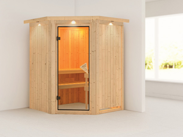 Sauna Systemsauna Nanja mit Dachkranz