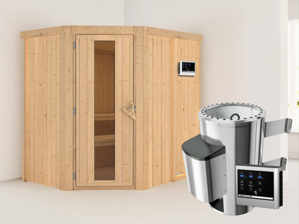 Sauna Systemsauna Saja Energiespartür + Plug & Play Saunaofen mit externer Steuerung