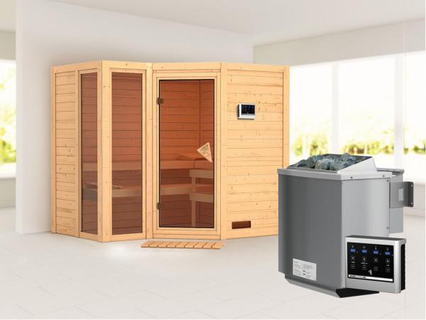 Sauna Massivholzsauna SPARSET Pincata inkl. 9 kW Bio-Kombiofen mit ext. Steuerung, bronz. Glastür