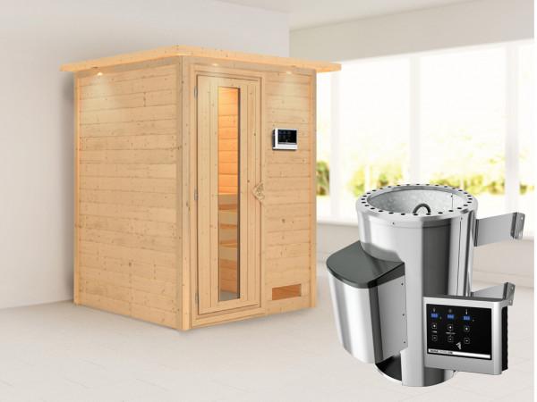 Sauna Massivholzsauna Nadja mit Dachkranz, Energiespartür + Plug & Play Saunaofen mit ext. Strg