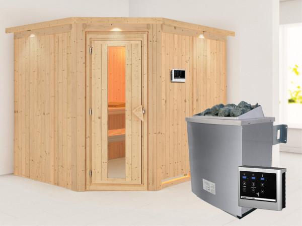 Systemsauna Malin mit Dachkranz, Holztür mit Isolierglas, inkl. 9 kW Saunaofen ext. Steuerung
