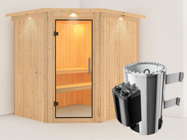 Sauna Systemsauna Lilja mit Dachkranz, Klarglas Ganzglastür + Plug & Play Saunaofen mit Steuerung