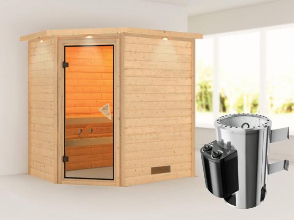 "Sauna Massivholzsauna ""Cilja"" mit Dachkranz, inkl. Plug & Play Saunaofen Steuerung"