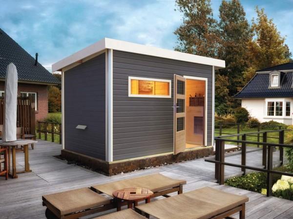 Saunahaus Skrollan 2 Grau mit Klarglastür & Vorraum, inkl. 9 kW Saunaofen mit externer Steuerung