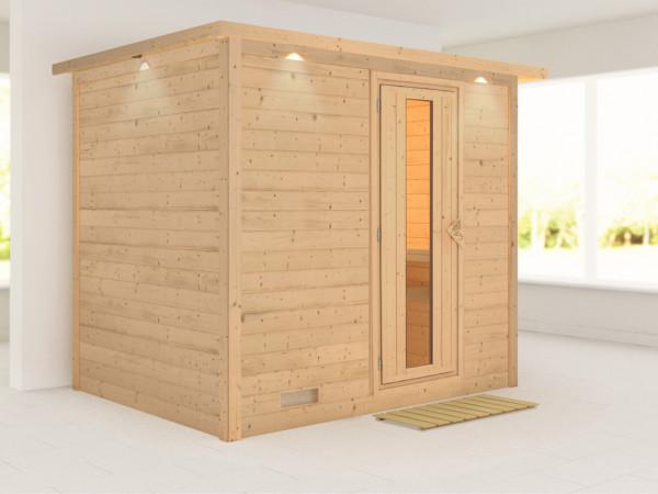 Massivholzsauna Sonara mit Dachkranz, Holztür mit Isolierglas