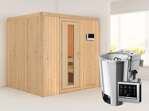 Sauna Systemsauna Daria Energiespartür + Plug & Play Bio-Ofen mit externer Steuerung