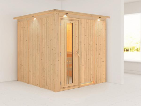 Systemsauna Rodin mit Dachkranz, Holztür mit Isolierglas