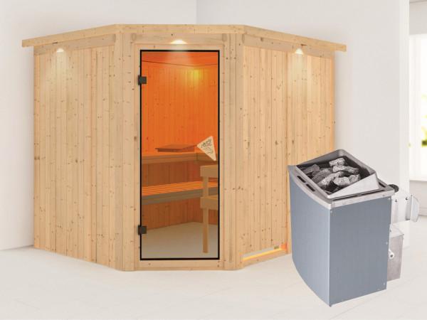 Systemsauna Malin mit Dachkranz, bronzierte Ganzglastür, inkl. 9 kW Saunaofen integr. Steuerung